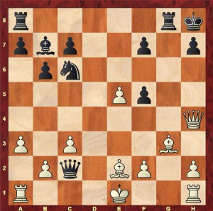 The position after Alekhine's suggestion 21...Qc2 (instead of Euwe's 21...Qe4)