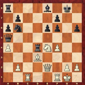 The position after White's 21st move (21.Ne4) Alekhine has sacrificed a pawn to weaken Black's kingside.