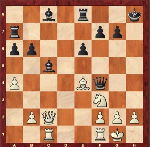 Alekhine-Rubinstein Carlsbad 1923 after Black's 20th move 20...Ra7